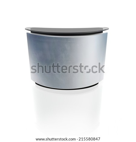 reception counter with metal front panel isolated on white - stock photo