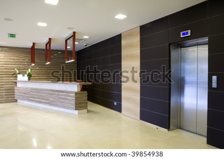 reception desk in lobby - stock photo