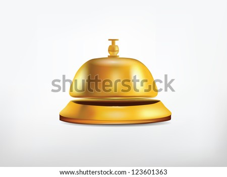 Reception Golden Bell Isolated on White - stock photo