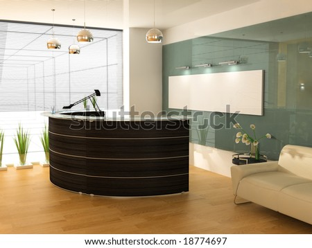 Reception in modern office - stock photo