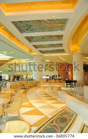 Reception lobby area in luxurious hotel, Dubai, UAE - stock photo