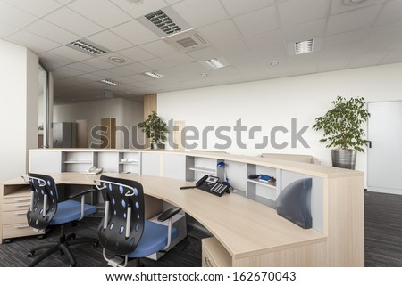 Reception room of a new contemporary office - stock photo