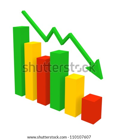 Recession Chart - three dimensional illustration isolated on white - stock photo