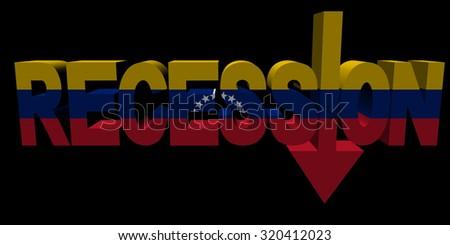 Recession text arrow with Venezuelan flag illustration - stock photo