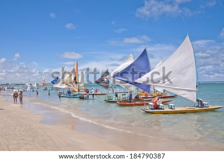 RECIFE, BRAZIL - CIRCA OCT 2013 - Jangadas in Porto de Galinhas. The most famous beach of Pernambuco, Pernambuco - Brazil  - stock photo