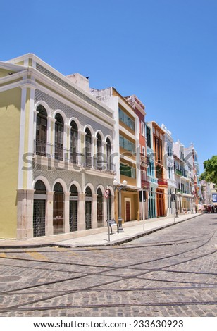 RECIFE, BRAZIL - NOVEMBER 13: View of the historic architecture  - stock photo