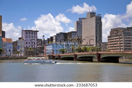 RECIFE, PERNAMBUCO/ BRASIL 11 MAY 2013  View of the Capibaribe River in Recife. Tourists walk by Capibaribe river. - stock photo