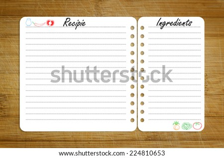 recipe page template design on wooden cutting board - stock photo