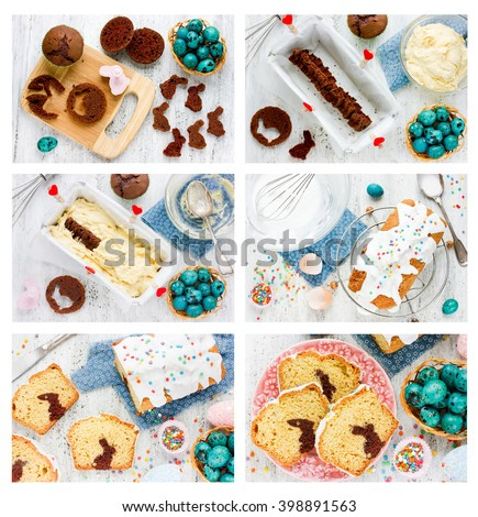 Recipe step by step collage for cooking traditional Easter cake with chocolate bunny inside white icing and colorful sugar sprinkling - stock photo