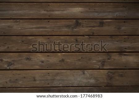 Reclaimed Dark Wood Background. Horizontal Old Weathered Planks. - stock photo