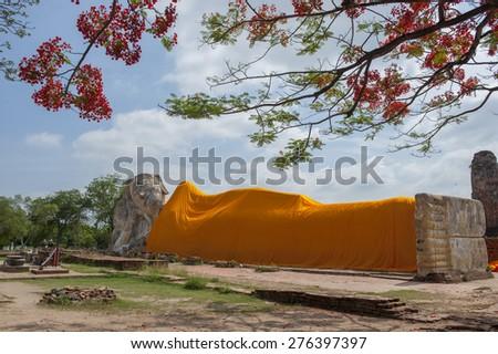Reclining Buddha at Wat Lokayasutharam temple,Ayutthaya, Thailand - stock photo