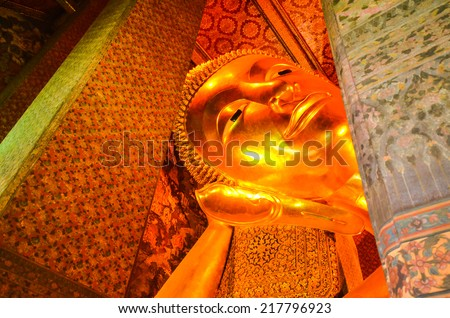 "Reclining Buddha in ""Wat Po"", Thailand  - stock photo"