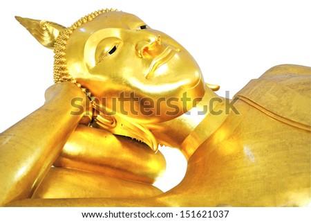 Reclining golden Buddha's head isolated on white background  - stock photo