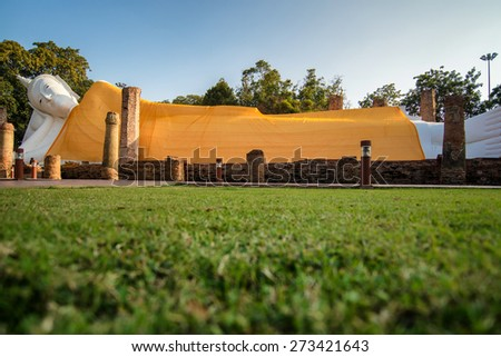 Reclining white buddha in Wat khun in temple, Angthong , Thailand - stock photo