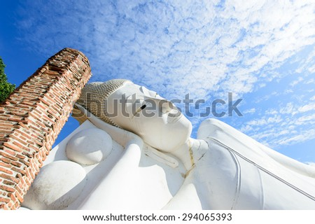 Reclining white buddha in Wat khunin temple, Angthong , Thailand - stock photo