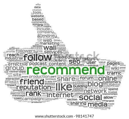 Recommend as social media concept in tag cloud of thumb up shape. Isolated on white background - stock photo