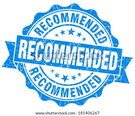 Recommended grunge round blue seal - stock photo