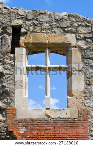 Reconstructed old castle window - stock photo