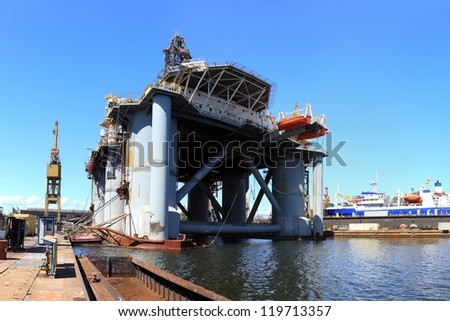 Reconstruction of the platform to the shipyard - stock photo
