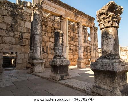 Reconstruction white synagogue in Kafarnaum, Israel - stock photo
