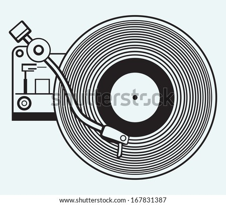 Record player vinyl record isolated on blue background. Raster version - stock photo