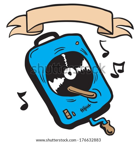 record player with banner cartoon doodle - stock photo
