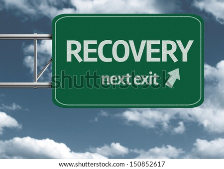 Recovery, next exit creative road sign and clouds - stock photo