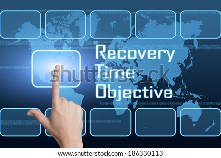 Recovery Time Objective concept with interface and world map on blue background - stock photo