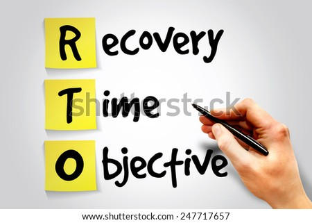 Recovery Time Objective (RTO) sticky note, business concept acronym - stock photo
