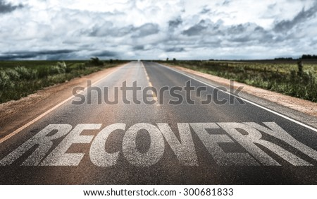 Recovery written on the road - stock photo