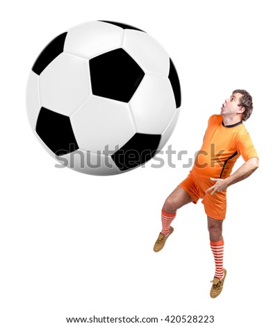 recreational fat footballer play with large ball isolated on a white background. Fat soccer player jumping at giant ball  - stock photo