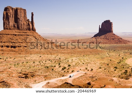 Recreational vehicle in Monument Valley - stock photo