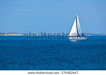 Recreational Yacht at Adriatic Sea. Horizontal shot - stock photo