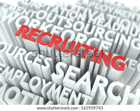 Recruiting - Red Text on White Wordcloud Background. Business Concept. - stock photo