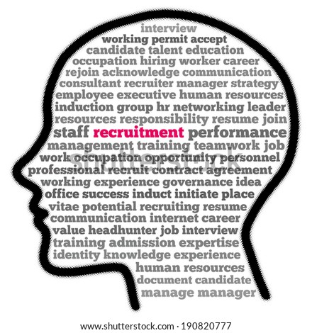 Recruitment in words cloud illustration - stock photo