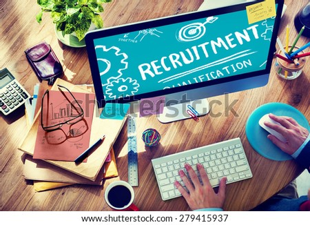 Recruitment Qualification Mission Application Employment Hiring Concept - stock photo