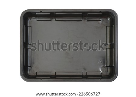 rectangle black plastic food tray isolated white background - stock photo