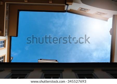 rectangle inside yard, upside view - stock photo