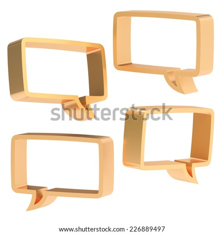 Rectangle shaped bronze text bubble dimensional shapes isolated over the white background, set of four foreshortenings - stock photo