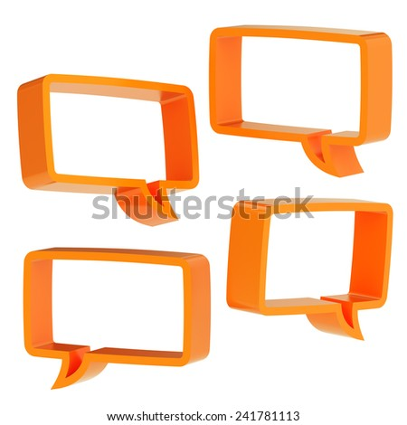 Rectangle shaped orange text bubble dimensional shapes isolated over the white background, set of four foreshortenings - stock photo