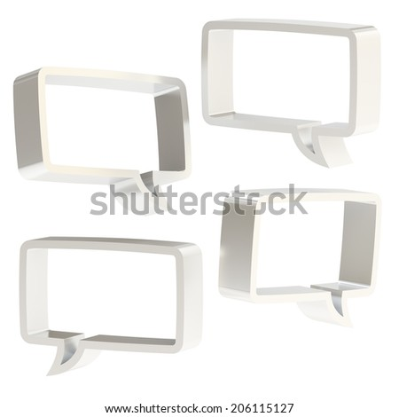 Rectangle shaped silver metal text bubble dimensional shapes isolated over the white background, set of four foreshortenings - stock photo