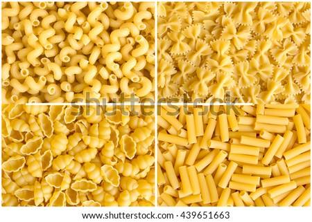 Rectangular collage of various raw yellow pasta backgrounds. Rigati, farfalle, rigatoni, gnocchi - stock photo