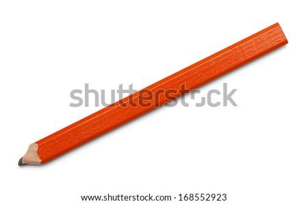 Rectangular Flat Orange Pencil Isolated on White Background. - stock photo