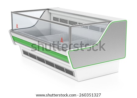 Rectangular refrigerator showcase - stock photo