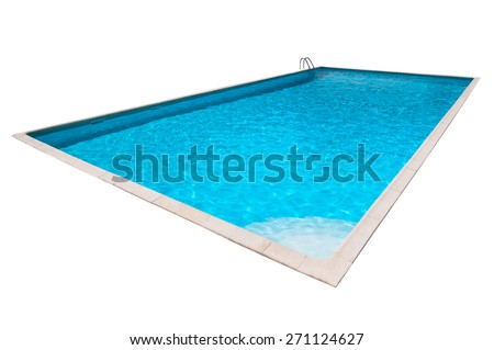 Rectangular Swimming pool with blue water isolated - stock photo