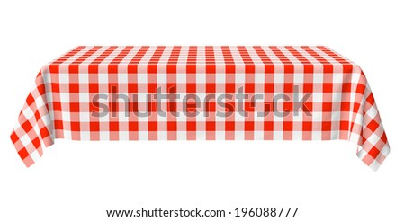 Rectangular tablecloth with red checkered pattern isolated on white, horizontal front view, 3d illustration - stock photo