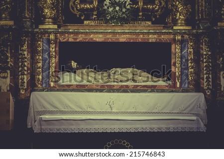 recumbent image of Jesus Christ, worship and religion - stock photo