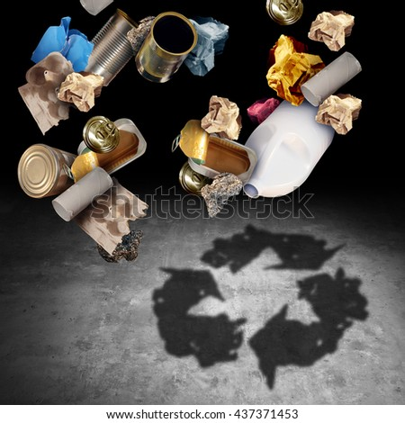 Recycle and recycling concept as a symbol of throwing garbage and reusable waste as old paper glass metal and plastic casting a shadow of a reuse icon in a 3D illustration style. - stock photo