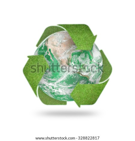 Recycle arrow symbol made of grass texture protecting green planet: Reuse, recycle, reduce icon: Saving world environmental awareness CSR campaign/ concept: Elements of this image furnished by NASA - stock photo
