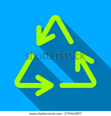 Recycle Arrows long shadow raster icon. Style is a flat light symbol with rounded angles on a blue square background. - stock photo